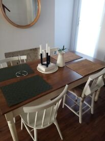 Country shabby chic vintage Table + 4 Chairs (chapel chairs + Habitat Chairs) all for 150£