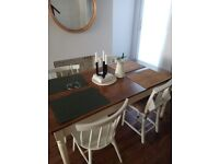 Country shabby chic vintage Table + 4 Chairs (chapel chairs + Habitat Chairs) all for 200£