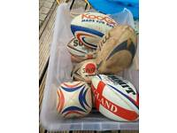 Large box of 9 rugby balls