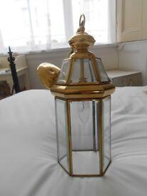Hexagonal brass & glass coach-lamp style pendant light fitting - 16 ins x 6 ins
