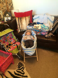 Re-born doll & moses basket, stand, cot, large box of clothes, double buggy , immaculate condition