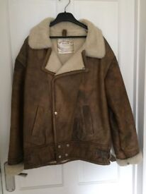 Leather and lambs wool flying jacket
