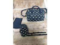 Cath Kidston leather Navy spot changing bag and accessories