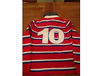 John Lewis Long sleeve Rugby Shirt - Red,Blue and cream.Age 11. Hardly Worn,Good Condition