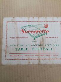 VINTAGE TABLE SOCCER GAME - SOCCERETTE - 1950's