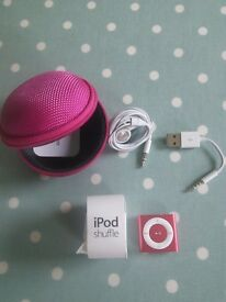 New Mini iPod shuffle pink case and accessories included