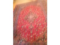Hand made Beautiful Persian rug, red and navy hand