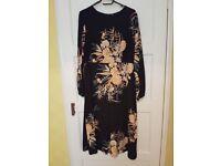 Maternity black floral print funnel neck midi dress - 20 ONO