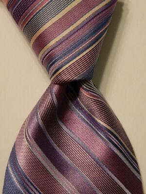 IKE BEHAR Men's 100% Silk XL Necktie USA Designer STRIPED Purple/Pink/Blue EUC