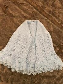 New pale blue baby shawl