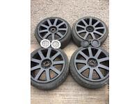 "18"" 5x100 5x112 9 Spoke Alloys Tyres Audi Vw Skoda Seat Gti Tdi R Cupra R32 Vrs A3 A4"