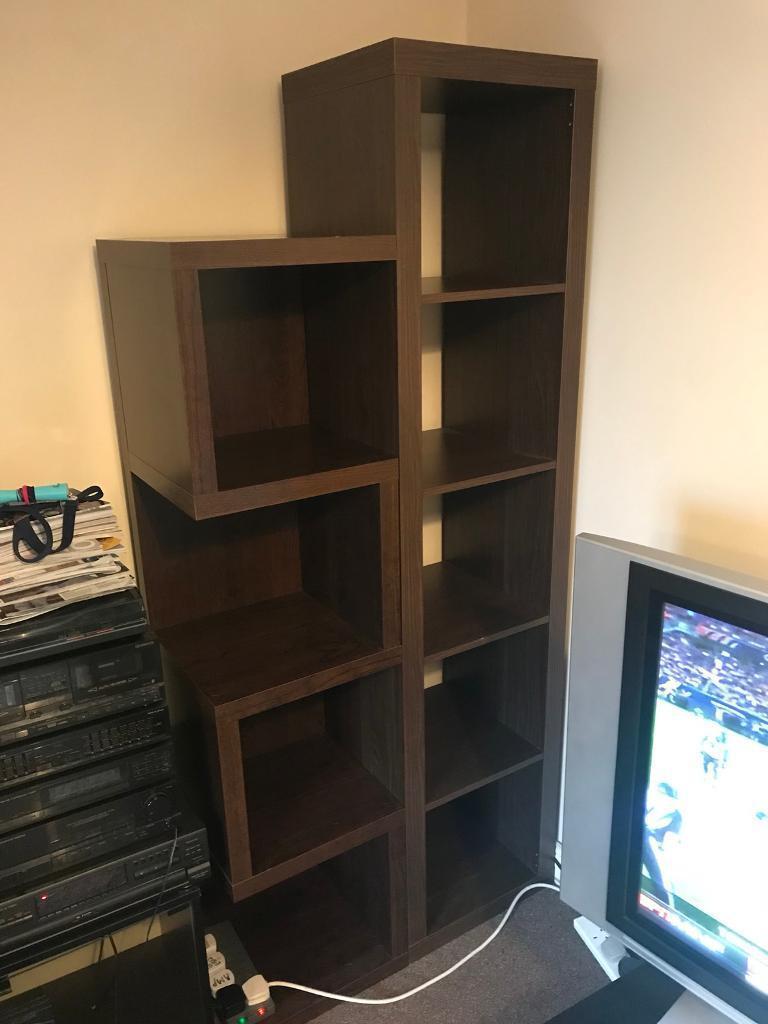 Dark wood bookshelves - Ikea and Next