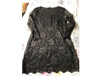Black lace maternity top size 10