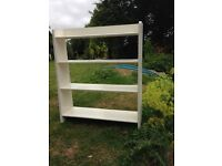 Two solid wooden shelf units painted white free to collector