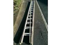 Double ladder wood and aluminium 3.60m plus 2.50 metres