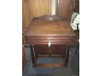 Superb Antique Solid Oak Lockable Davenport Captain's Ship Writing Desk with Hidden Storage