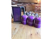 Panasonic purple kettle and purple storage jars (as set or can separate) (violet)