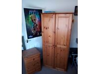 Pine double wardrobe and drawers set