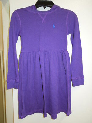 NEW -GIRL'S POLO RALPH LAUREN L/S DRESS - PURPLE - S OR XL -#313-628526  $39.95 Girls L/s Polo