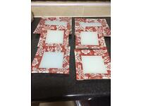 Red and white dinner plates