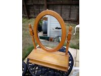 Pine dressing table mirror with storage compartment