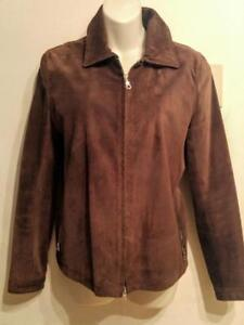 Oakville ROOTS SUEDE JACKET 8 10 Made in Canada 100% Leather Dark Brown