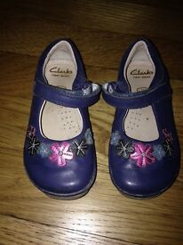 Girls navy shoes from Clarks, size 4.5f