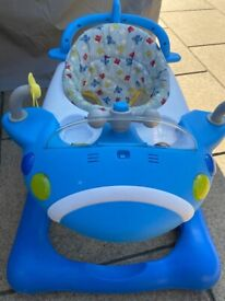 MOTHERCARE 2 IN 1 BLUE BABY WALKER PLANE