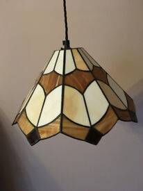 Tiffany Style Glass Lampshade - cream and brown