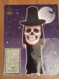 Child Halloween Fancy Dress Skull Jumbo Face Age 10-12 Years Top Hat With Face Attached Gown VGC