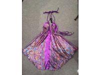 Unworn, purple, short, silk feel top, one size