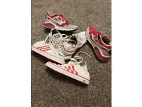 8247ccc89f Girls nike air trainer, leather converse pump, adidas canvas high top uk3