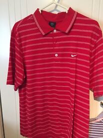 Red Nike striped polo top