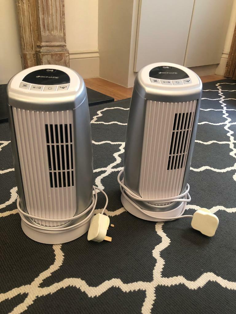 2 Mini Tower Fans with Timer & Ioniser, Silver/White | in Notting Hill,  London | Gumtree