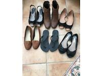 Six pairs of size 7 women's footwear.