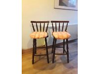 Solid Oak Farmhouse Styled Brown Decorative cushioned Kitchen Bar Stools x2