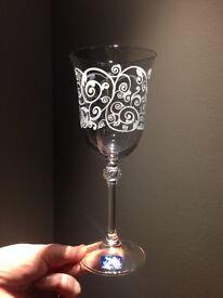 Cristal gioielli da tavola wine glasses, set of four in box.