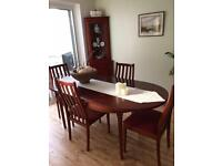 Matching dining set with two side tables plus tall cabinet