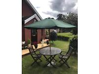 Out door patio table with 2 chairs