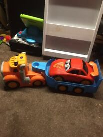Toy lorry and car