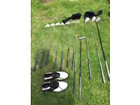 Dunlop golf clubs, golf balls, golf shoes & trolley