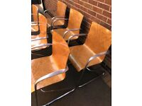12 Vintage SCANDI Aluminium Bent Plywood Chairs Walnut Veneer