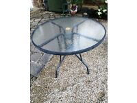 Black Glass Topped Garden Table