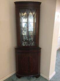 Mahogany mirrored display corner cabinet
