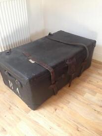 Vintage travel trunk, storage unit