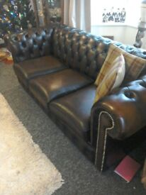 Leather 3 seater Chesterfield sofa in antique brown.