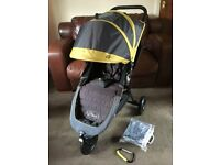 CAN POST EX COND Baby Jogger City Mini GT Pushchair & NEW Raincover All Terrain Buggy Pram Stroller