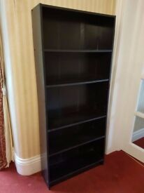 Black Veneered Bookcase - 162cm tall