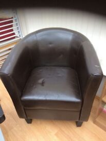 LEATHER TUB CHAIR AND SOFA
