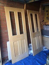 Glazed London Oak Veneer Internal Doors